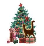 Поздравительная открытка рождества растра с рождественской елкой, орнаментами, присутствующими коробками, гирляндой и оранжевым к иллюстрация вектора