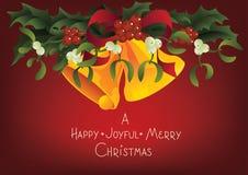 Поздравительная открытка рождества сезонная счастливые радостные колоколы с Рождеством Христовым и звона Стоковая Фотография