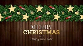 Поздравительная открытка рождества с ветвями рождественской елки, красными Ракетами и золотыми звездами на деревянной предпосылке иллюстрация штока
