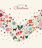 Поздравительная открытка рождества с винтажными значками праздника иллюстрация штока