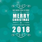 Поздравительная открытка рождества с голубой предпосылкой и белым typograp иллюстрация вектора