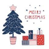 Поздравительная открытка рождества с деревом и настоящими моментами бесплатная иллюстрация