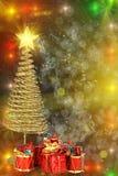 Поздравительная открытка рождества с елью и настоящими моментами металла золота стоковое изображение rf