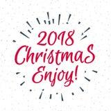 Поздравительная открытка рождества с знаком 2018 ярлыка состоя Стоковое Изображение