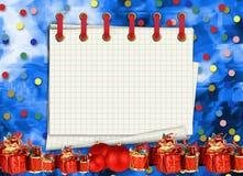 Поздравительная открытка рождества с настоящими моментами на голубой предпосылке бесплатная иллюстрация