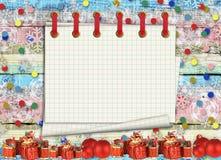 Поздравительная открытка рождества с настоящими моментами на предпосылке иллюстрация вектора