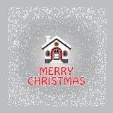 Поздравительная открытка рождества с покрытыми снег домом и снежинкой иллюстрация вектора