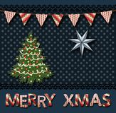 Поздравительная открытка рождества с рождественской елкой в винтажном scrapbooking стиле иллюстрация вектора
