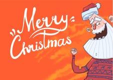 Поздравительная открытка рождества с смешной рукой Санта Клауса усмехаясь и развевая Санта Клаус развевает здравствуйте! Литернос иллюстрация штока