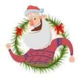 Поздравительная открытка рождества с смешной рукой Санта Клауса усмехаясь и развевая иллюстрация вектора