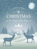 Поздравительная открытка рождества с снежинкой и оленями в лесе Стоковое Изображение