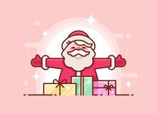 Поздравительная открытка рождества с усмехаться и подарками Санта Клауса Тонкая линия приглашение xmas также вектор иллюстрации п иллюстрация штока