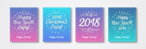Поздравительная открытка рождества установила с знаком с Рождеством Христовым 2018 белой эмблемы состоя Стоковое Фото