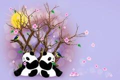 Поздравительная открытка сирени с пандами Стоковые Фото