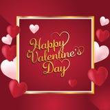 Поздравительная открытка счастливого дня Святого Валентина романтичная, плакат оформления с воздушными шарами сердца форменными стоковая фотография rf