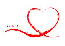 Поздравительная открытка с †«DU & ICH сердца руки вычерченным красным иллюстрация вектора