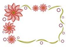 Поздравительная открытка с абстрактными темн-красными цветками иллюстрация вектора