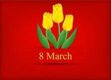 Поздравительная открытка с букетом тюльпанов Стоковые Изображения RF