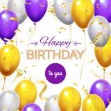 Поздравительная открытка с воздушными шарами Воздушный шар гелия летания с днем рождений светя и золотой сияющий confetti для поз бесплатная иллюстрация