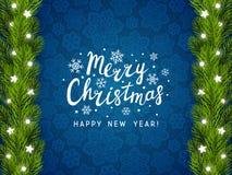 Поздравительная открытка с границей рождественской елки Стоковое Фото