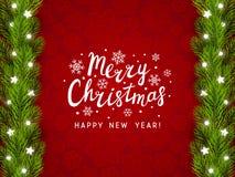 Поздравительная открытка с границей рождественской елки Стоковые Изображения