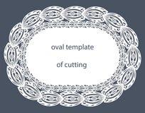 Поздравительная открытка с декоративной овальной границей, doily бумаги под тортом, шаблона для резать, wedding приглашение, деко Стоковое Изображение