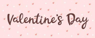 Поздравительная открытка с днем Валентайн на розовой предпосылке стоковое изображение rf