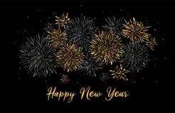 Поздравительная открытка с днем рождений с дизайном литерности Предпосылка золотых фейерверков яркого блеска красная бесплатная иллюстрация