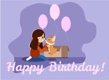Поздравительная открытка с днем рождений с щенком маленькой девочки, милого и сладких валийца corgi, розовыми баллонами, коробкой иллюстрация штока