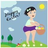 Поздравительная открытка с милой маленькой девочкой с корзиной с яичками бесплатная иллюстрация