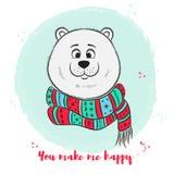 Поздравительная открытка с милым полярным медведем Стоковая Фотография RF