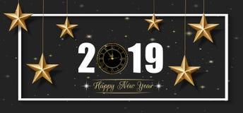 2019 поздравительная открытка С Новым Годом! и веселое рождества с золотыми звездой и часами иллюстрация вектора