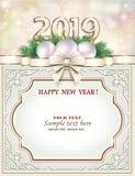 Поздравительная открытка С Новым Годом! 2019 рождества Рамка с космосом для текста также вектор иллюстрации притяжки corel стоковое изображение