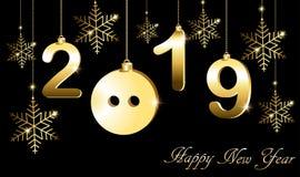 Поздравительная открытка с Новым Годом, годом свиньи иллюстрация вектора