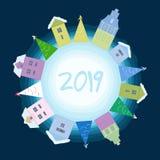 Поздравительная открытка с Новым Годом иллюстрация вектора