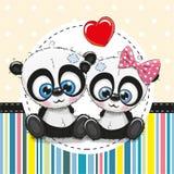 Поздравительная открытка с 2 пандами шаржа бесплатная иллюстрация