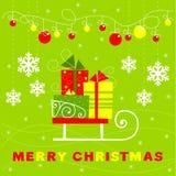 Поздравительная открытка с подарками, розвальни иллюстрация вектора