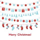 Поздравительная открытка с праздничными гирляндами, рождество рождества забавляется, чулки, подарочные коробки бесплатная иллюстрация