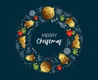 Поздравительная открытка с Рождеством Христовым золота низкая поли роскошная иллюстрация вектора