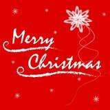 Поздравительная открытка с Рождеством Христовым на красной предпосылке Стоковое фото RF
