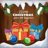 Поздравительная открытка с Рождеством Христовым, подарки, украшения на предпосылке деревянных доск и снег, стиль шаржа, знамя бесплатная иллюстрация