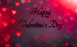 Поздравительная открытка с сердцем на заднем плане и днем Святого Валентина текста счастливым стоковое фото rf