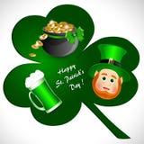 Поздравительная открытка с символами дня ` s St. Patrick иллюстрация штока