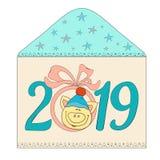 Поздравительная открытка с символом свиньи Нового Года иллюстрация вектора