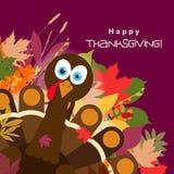 Поздравительная открытка с счастливым индюком благодарения, вектор шаблона Стоковое Фото