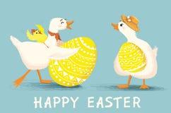 Поздравительная открытка с уткой и цыпленком шаржа с пасхальными яйцами Стоковое Изображение