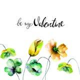 Поздравительная открытка с цветками мака и тюльпанов бесплатная иллюстрация