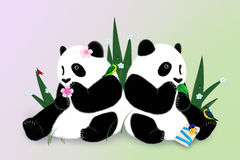 Поздравительная открытка с 2 пандами Стоковые Изображения RF