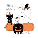 Поздравительная открытка хеллоуина иллюстрация вектора