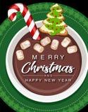 Поздравительная открытка чашки горячего шоколада рождества иллюстрация вектора